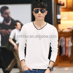 Blank good quality 180gsm combed cotton fabric color plain V neck long sleeve t-shirt