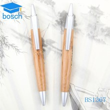 Best selling plastic wood ball pen with paper color inside and plastic clip
