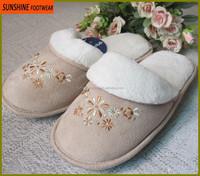 Suede women fleece indoor slipper with embroidery