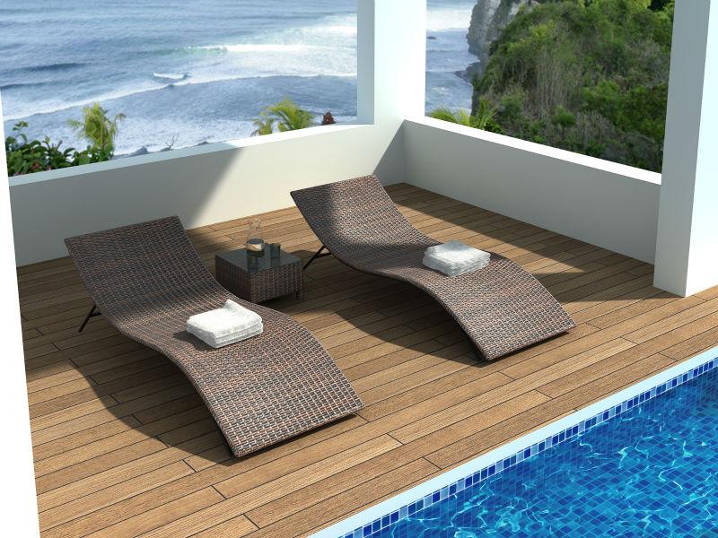 Mobilier chaises longue couchette d 39 exterieur en r sine for Mobilier exterieur resine tressee