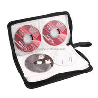 Hot Sale Casual Black PU Leather PP Nylon CD VCD DVD 80 Discs Storage Holder Case Wallet Bag Carry Organizer Collection