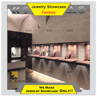 Jewelry furniture wall showcase wall glass mounted showcase designs for jewelry display cases