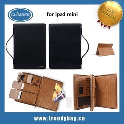 Remax brand wise man series hand bag style pu leather wrist strap zipper case for ipad mini