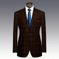 50% wool 50% polyester Notch lapel one buttons dark brown checks blazers for men
