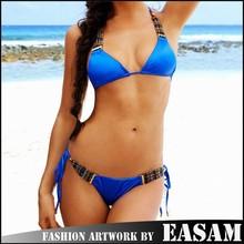 Easam hot blue Beads push up tie bikini Beachwear for 2015 women