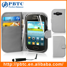 Set Screen Protector Stylus And Case For Samsung Galaxy Fame S6810 , Gray Wallet Leathter PU Phone Cover