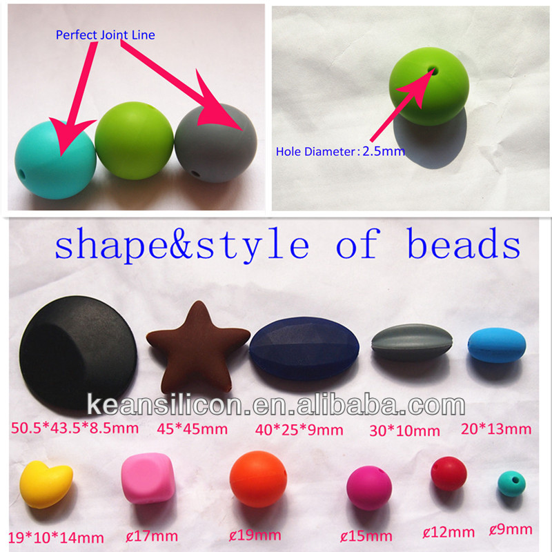 2014 Multi Color BPA Free Food Grade Silicone Beads