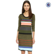Crew neckline multi striped knee length long sleeve sweater dress