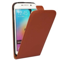 Up and down genuine Leather flip case for samsung galaxy s6 real leather case