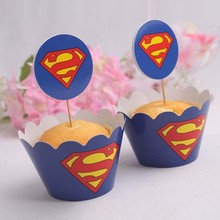 superman paper cupcake wrappers & toppers picks kids birthday wedding favors baby shower decoration