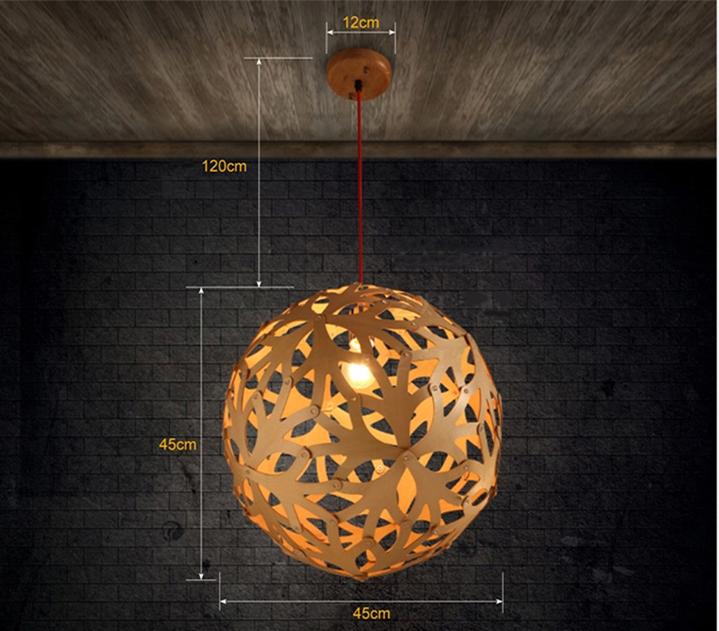 boule de bois lustre cr ative restaurant bar r tro droplight escalier couloir lampes suspendues. Black Bedroom Furniture Sets. Home Design Ideas
