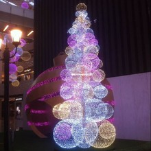 Colorful lighted Christmas ball tree