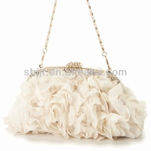 2014 new polyester material dinner bag with rose flower for lady