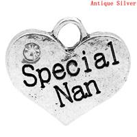 "Charm Pendants ""Special Nan"" Heart Antique Silver Clear Rhinestone 16x14mm,Hole:Approx 2.7x3mm,20PCs,8seasons"
