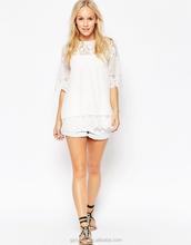 New Design Female/Ladies Petite Lace Detail Top Blouse,Elegant Lace Tops Blouses