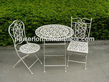 Folding scrollwork design white outdoor furniture one table two chairs set