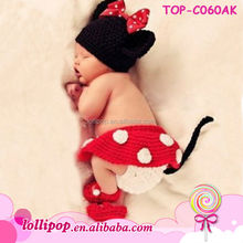 Cute crochet animal pattern infant baby girl hat with baby diaper cover and shoe