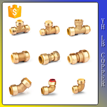 """LinBo LBC204 3/4"""" Push Fit x 3/4"""" spigot (7/8"""" O. D.) x 1/2""""lead free Brass pipe Push Fit Fittings - Slip Tee Connector"""