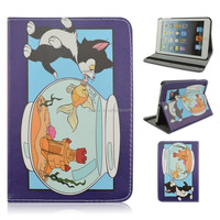 New Black Cat Fish Flip Stand PU Leather Tablet Cover Case For iPad mini 1/2/3 Wholesale