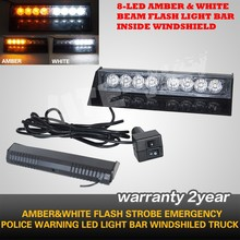 High Power 6W Car Warning Caution Strobe 25 Flash Modes LED Light Bar White Beam