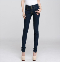 2014 new hot sale elastic slim denim blue pencil long design skinny tight women jeans