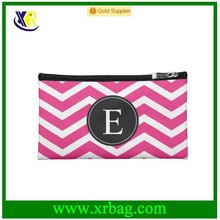 Black and White Striped Pattern Hot Pink monogrammed cosmetic bag