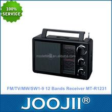 Portable FM/TV/MW/SW1-9 12 Band Radio receiver with DC jack