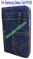Wallet Jean Leather Stand case for samsung galaxy tab 2 p3100 with best quality and factory price