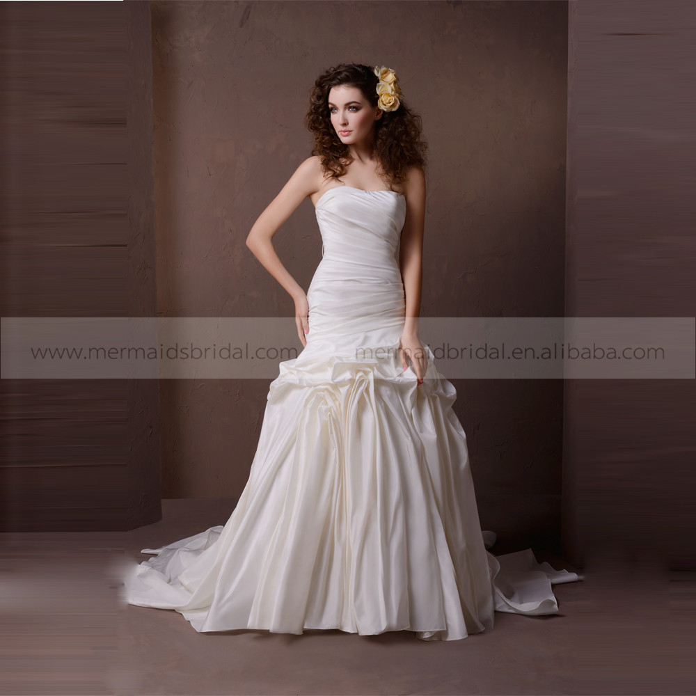 Fancy heart line exquisited ruffle shape mermaid tafetta for Heart shaped mermaid wedding dresses