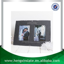 Factory Direct Price 37*26cm Handmade Decorative Customized Laser Design Natural Slate Double Wedding Photo Frame