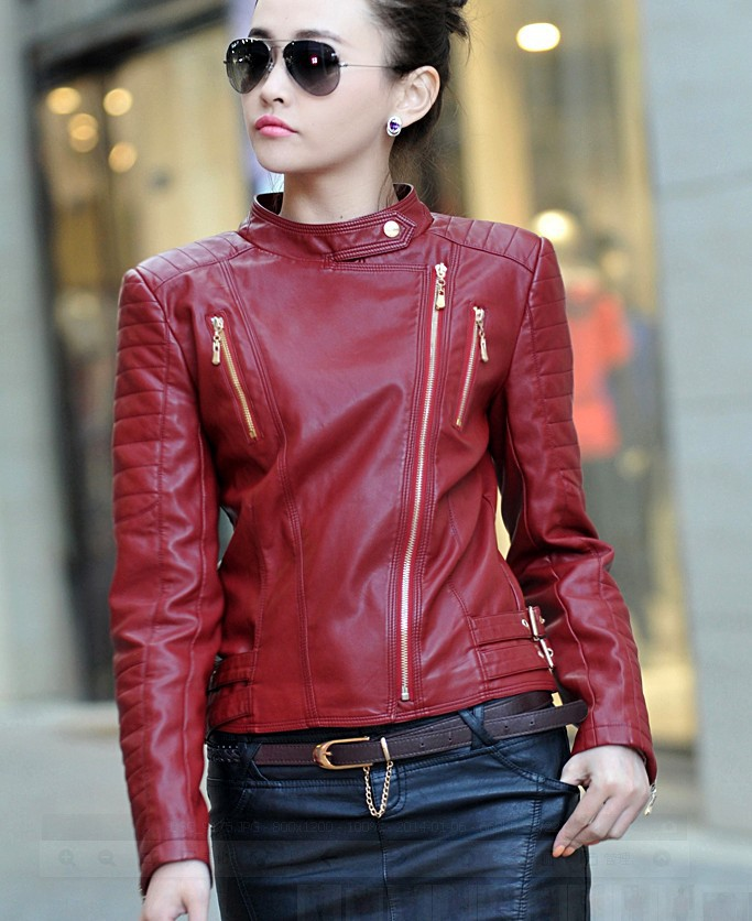 2018 Wholesale New 2015 Autumn Winter Women Jackets Leather Coats Ladies Red Fashion Girl ...