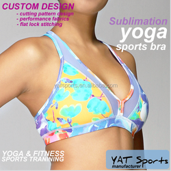 Dri fit lycra sports womens tops Custom design digital sublimation printed Yoga bra
