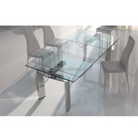 N128 Sharp Glass Extendable Dining Table Designs, New Design Products Glass Dining Table