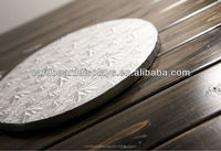 Gold and silver cake boards with foil paper