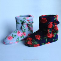 Beautiful half snow boots for women and lovely flower printing indoor slipper boots Coral fleece slippers with bowtie