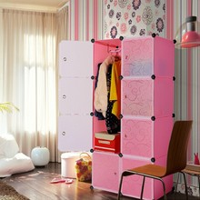 Muti use interlocking DIY plastic storage cupboard cabinet unit with hanging clothes rail (FH-AW0820-8)