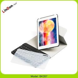 360 Rotation wireless keyboard for ipad mini 3, wireless mini keyboard with pu leather case