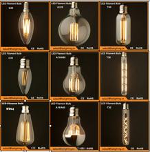 E27 E14 B22 dimmable filament led bulb,2W 4W 6W led filament lamp, dimmable led filament bulb light