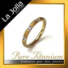 Dazzling Matte Surface Golden Titanium Ring with Zircon