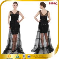 China Women Clothing V Neck Maxi Black Sequin Dress Sexy Evening Dress