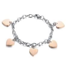 FEILIU Heart Pendant Woman Bracelets Casual/Sporty Stainless Steel Women Jewelry Hot Fashion Korea Style Accessories GS779