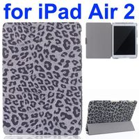 Leopard Pattern 3-Folding PU Leather Case for iPad Air 2 with Stand