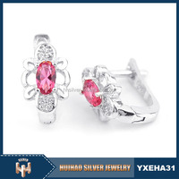 latest design different colored stone 925 silver charm earrings for girls