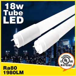DLC UL cUL CSA 4ft led T8 tube light external internal driver 18W