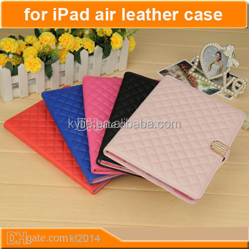 pu leather wallet case wake up/sleep cover flip stand case cover for ipad 5 air