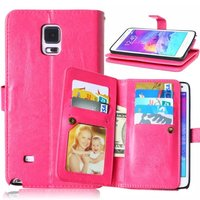 For Samsung Galaxy Note 4 9 Cards Slot Photo frame PU Leather Wallet Case 2 in 1 Magnetic Detachable Back Cover Flip Phone Cases