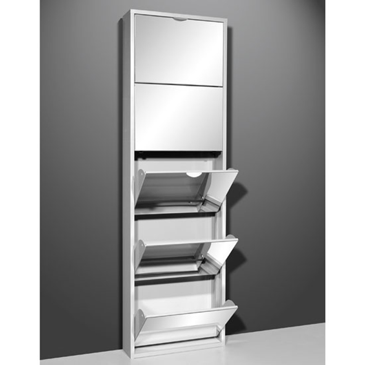 ... Mirrored Metal Shoe Cabinet