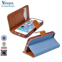 Veaqee smartphone pu folding stand credit card slot wallet leather case for iphone 5s