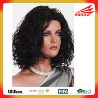 Asian women Kanekalon Fiber Shoulder Length Curly Hair doll wig