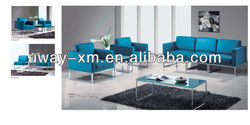 Factory Direct Sale leather sofa for reception/leisure/office with chrome frame